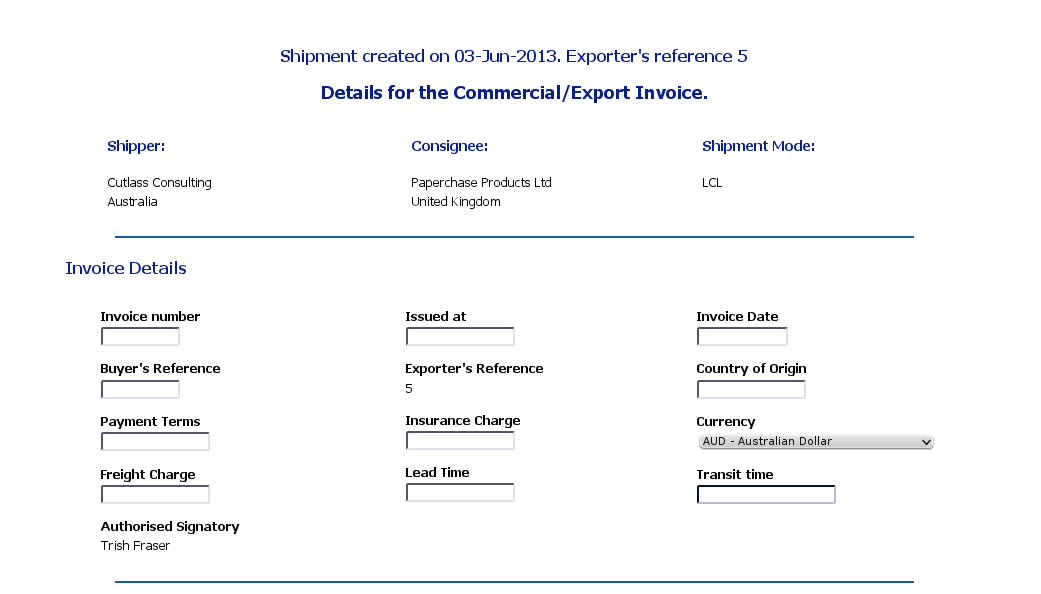 Creating a Shipment - Commercial / Export Invoice
